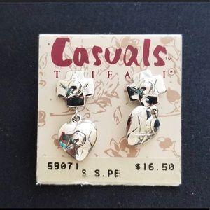 Trifari Casuals Dangling Heart Pierced Earrings